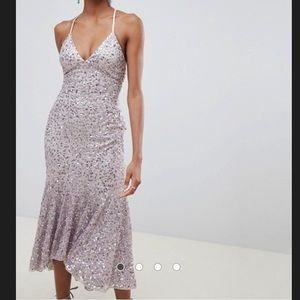 ASOS midaxi dress over sequin with fluted hem